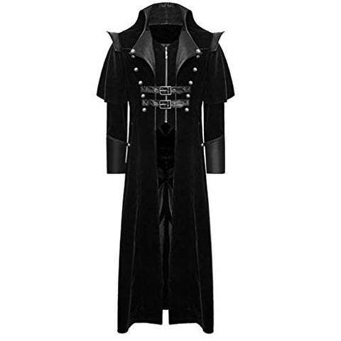 jin?Co Men's Tailcoat Jacket Gothic Frock Coat Buckle Long Sleeve Vintage Cosplay Uniform Costume Party Outwear Black