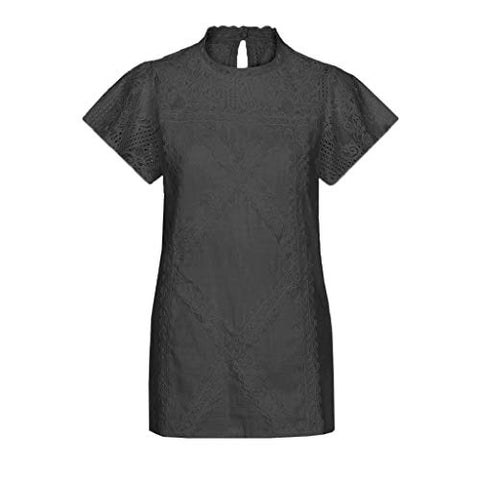 terbklf Womens Lace Patchwork Flare Ruffles Short Sleeve Cute Floral Shirt Blouse Top Ladies Casual Solid T Shirt Black