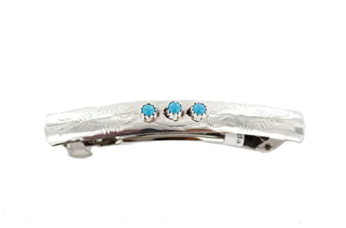 $200 Tag Silver Certified Navajo Natural Turquoise Native Hair Barrette 10346 4 Made By Loma Siiva