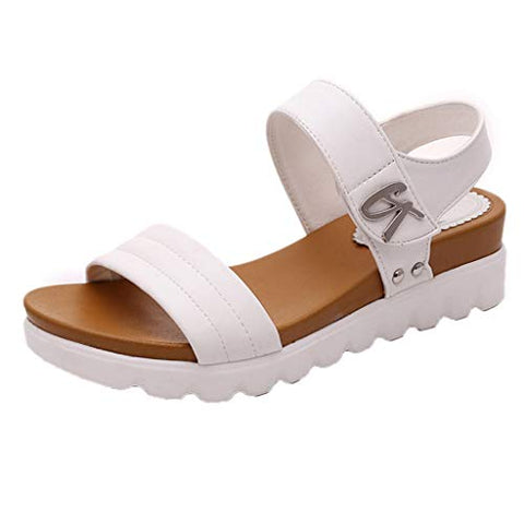 Xinantime Summer Sandals Women Aged Flat Casual Sandals Comfortable Ladies Shoes (White,38)