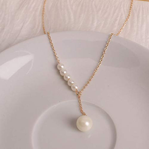 Jovono Pearl Pendant Necklaces Beaded Y-Necklace Fashion Chain Jewelry for Women and Girls (Gold)