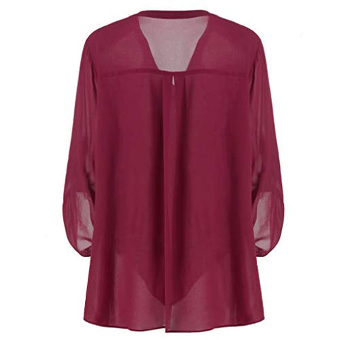 Chiffon Blouse Tops,Jushye Womens Roll-Up Long Sleeve Plus Size Casual V Neck Layered Tunics Shirts for Office Work (XXXL-US:14, Wine)
