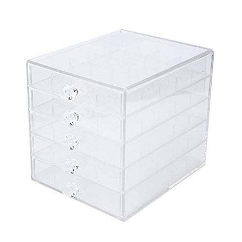 Ichiias Storage Box,Five Layers Acrylic Detachable Storage Box Transparent Practical Nail Jewelry Display Case