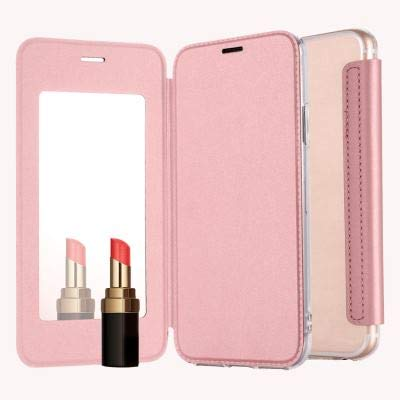 Mistars Mirror Flip Case for Galaxy A7 2018 Rose Gold, Ultra Slim PU Leather withTransparent Soft TPU Back Cover Shockproof Anti-Scratch Protective Shell for Samsung Galaxy A7 (2018) A750