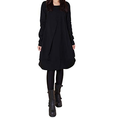 Xinantime Womens Cute Solid Tunic Casual Long Sleeve Round Neck Irregular Maxi Dress(Black,M)