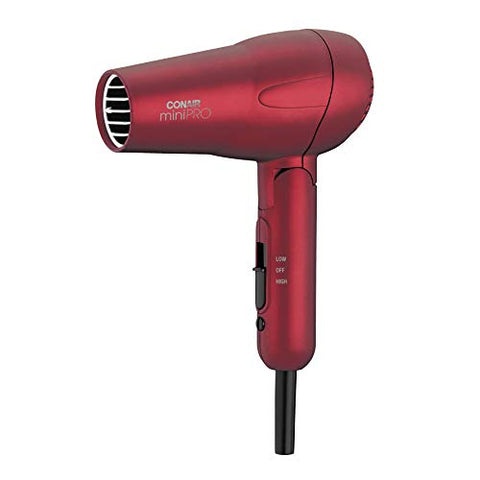 Conair Mini Pro Tourmaline Ceramic Hair Dryer With Folding Handle, Travel Hair Dryer, Red (263 Sr)
