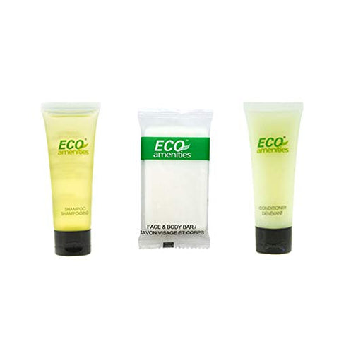 ECO amenities Mini Shampoo, Hotel Sized Conditioner, Travel Sized Hotel Soap Bars 150pcs in ONE Package; Hotel Bathroom Guest Toiletries in Bulk