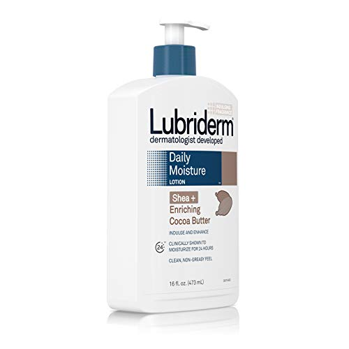 Lubriderm Daily Moisture Body Lotion with Shea + Enriching Cocoa Butter For Dry Skin, Clean, Non-Greasy and Dermatologist Developed brand, 16 fl. Oz