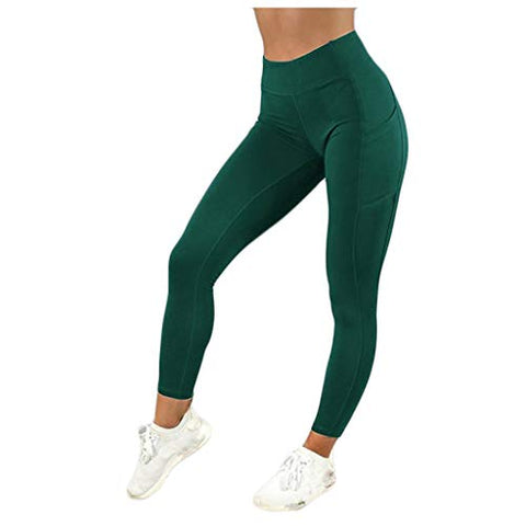 WYTong Women's Sports Pants For Women Solid Pocket High-waist Hip Stretch Underpants Running Fitness Yoga Pants(Green,S)