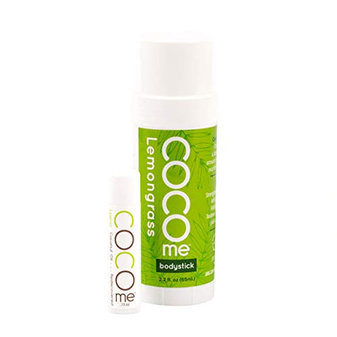 CocoMe - Organic Moisturizing Lemongrass Body Stick and Lip Balm Duo - Virgin Coconut Oil and Anti-Aging Beeswax for Skin Repair and Protection. Dermatologist Recommended.