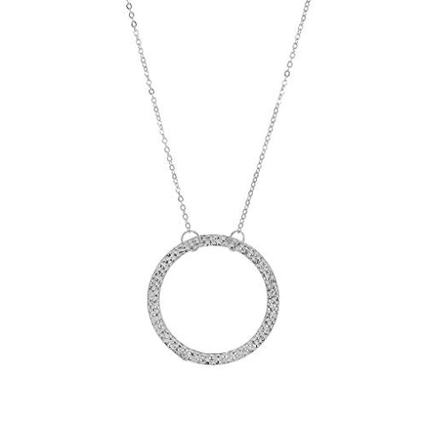 Yalice Long Pendant Necklace Chain Hollow Circle Necklaces Hammered Dress Jewelry for Women and Girls (Silver)