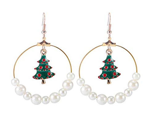 Chargances Christmas Tree Dangle Earrings for Women Bohemia Women Pearl Gold Hoop Earrings Christmas Jewelry Set gifts for Women Girls Fashion Dangle Earrings Jewelry (Style 2)