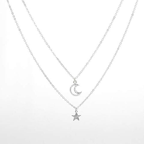 Jovono Multilayered Crescent Moon Pendant Necklaces Fashion Star Necklace Chain Jewelry for Women and Girls (Silver)