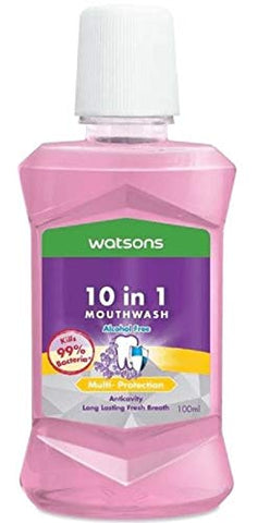 WATSONS 10 in 1 Mouth Wash 100ml-10-in-1 Multi-Action Formula for Complete Oral Care. It Forms a Protective Film in The Oral Cavity for Better Oral Health and Hygiene