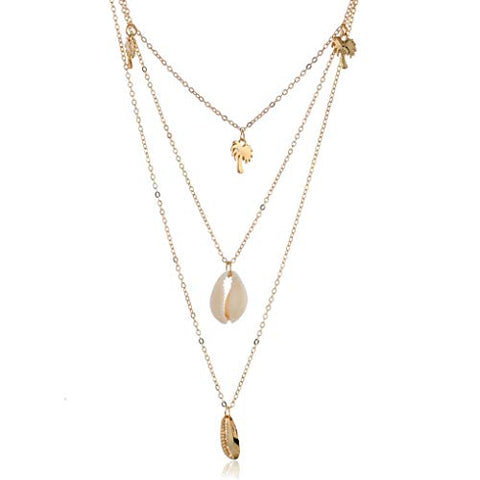 Yalice Multi-Layered Shell Necklace Chain Palm Tree Necklaces Jewelry for Women and Girls (Gold)