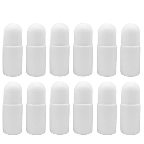 Healifty 50ML Roller Bottles Essential Oils Bottles with Roller Ball 12pcs(White)