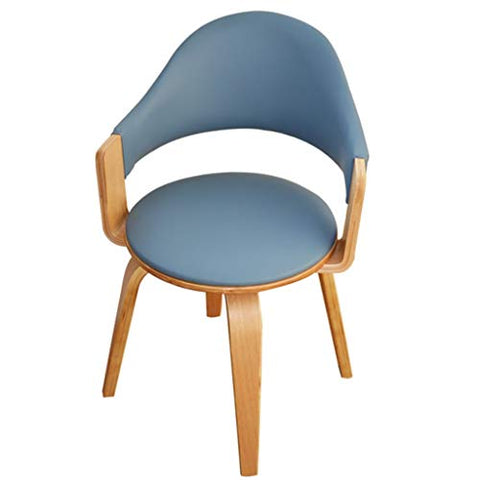 Chair Fashion Ideas Solid Wood Swivel, Unique Work Cafeteria Dining Computer with Backrest, Office Casual Coffee (Color : Blue)