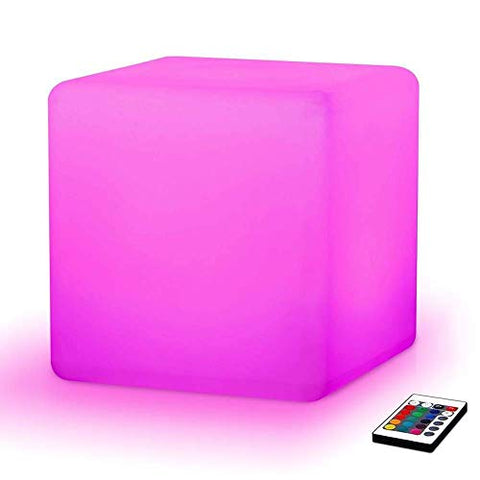 Paddia 16 Dimmable Colors & 4 Modes Rechargeable Colour Changing Led Mood Light Cube Remote Control Brightness Mood Lamp Waterproof Led Cube Stool Home Decorative Lighting Garden Party