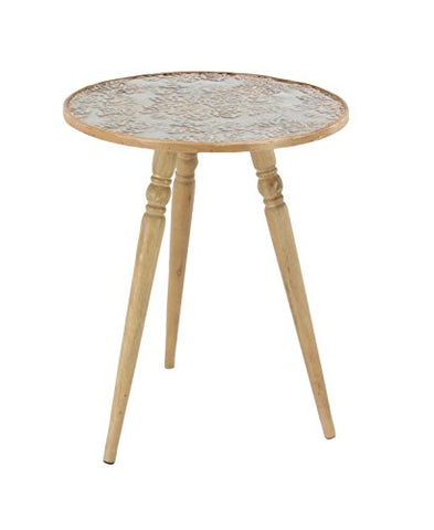 Deco 79 14885 Accent Table, Light Brown/White