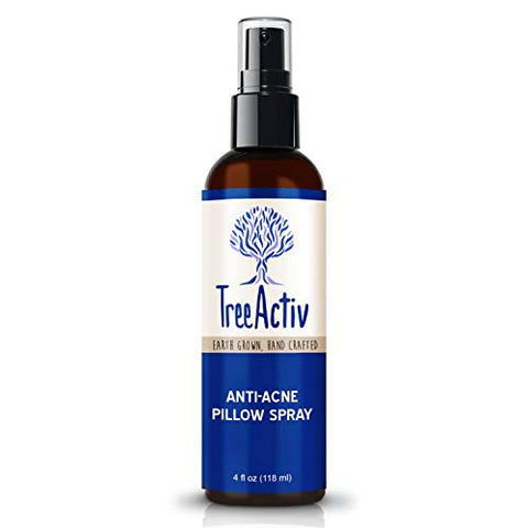 TreeActiv Anti-Acne Pillow Spray, Kills Acne Causing Bacteria, Relax Your Mind & Body, Cleans Fabric, Bedding, Clothing, Carpet & Furniture, Lavender, Peppermint, Tea Tree, Clary Sage, 4 fl oz