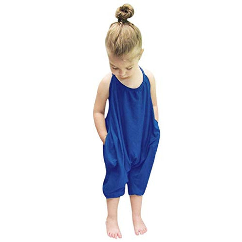 terbklf Toddler Kids Baby Girls Summer Slim Sleeveless Solid Straps Rompers Jumpsuits Piece Pants Clothing Blue