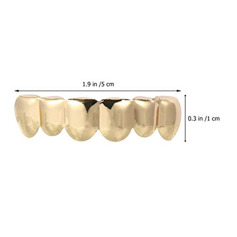 PRETYZOOM 1 Set Hip Hop Teeth Brace Shiny Top Bottom Teeth Grillz Removable Teeth Mouth Guard Trick Joke Prop Halloween Costume Accessories for Adults Children Golden