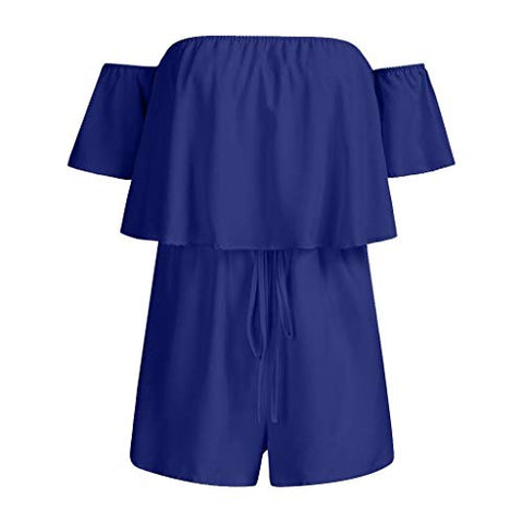 terbklf Womens Off Shoulder Solid Ruffles Holiday Mini Playsuit Ladies Shorts Jumpsuit Bandeau Jumpsuits for Summer Blue
