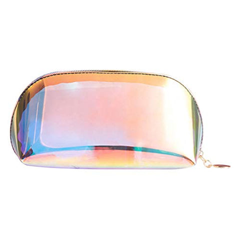 Cabilock Holographic Makeup Bag Clear Cosmetic Bag Iridescent Travel Makeup Pouch Toiletry Organizer Zipper Handy Wash Carry Case Stationery Box for Pen Pencil Makeup Brush