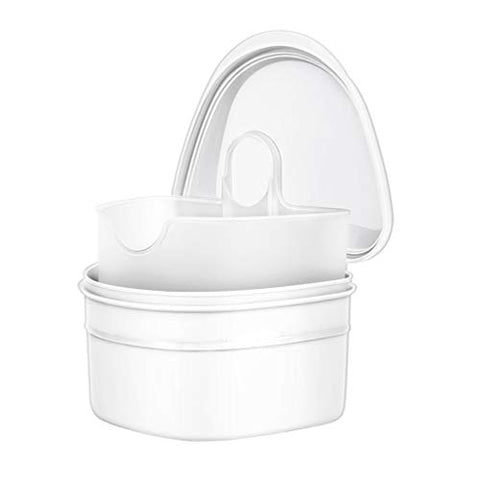 Healifty Denture Case Denture Cup with Strainer Denture Bath Box False Teeth Storage Box with Basket Net Container Holder for Travel (White)