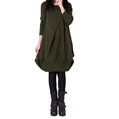 Xinantime Womens Cute Solid Tunic Casual Long Sleeve Round Neck Irregular Maxi Dress(Army Green,M)
