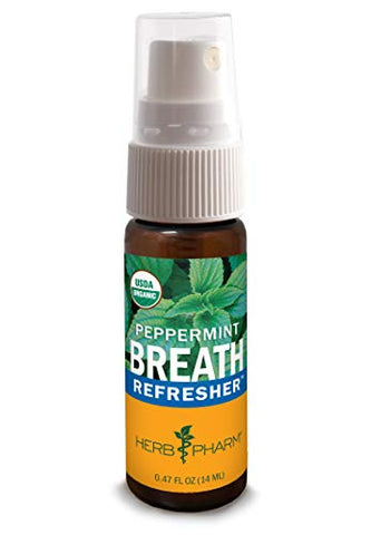 Herb Pharm Breath Refresher Certified Organic Herbal Fresh Breath Spray, Peppermint