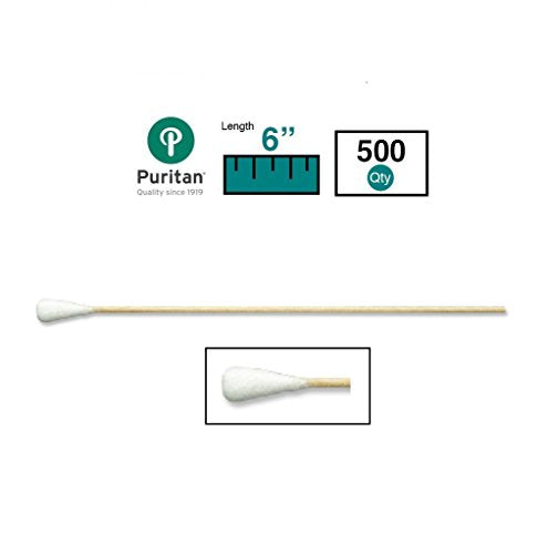 "Puritan Medical 6"" Extra Large Cotton Swab w/Wooden Handle - 806-WCL (Box of 500)"