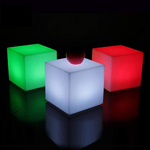 Paddia Fashion Chargeable Waterproof Outdoor Light Up LED Cube Stool Illuminate Creative Bar Garden Chair Remote Control Discoloration Sofa Cafe Household Bedside Seat (Size : 101010cm)