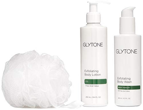 Glytone KP Kit Keratosis Pilaris - Exfoliating Body Wash, Lotion, Shower Pouf, Smooth Rough & Bumpy Skin, Chicken Skin, Fragrance-Free, Kit