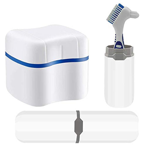Denture Bath Case, Denture Cups Bath, Toothbrush with hard denture and portable toothbrush box, Dentures Container with Removable Strainer Basket Holder (Blue)