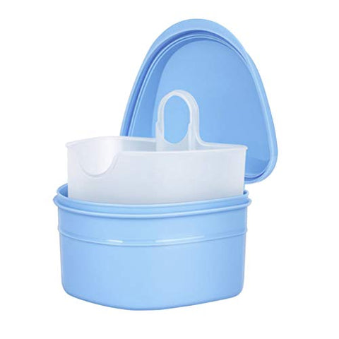 Healifty Denture Case Denture Cup with Strainer Denture Bath Box False Teeth Storage Box with Basket Net Container Holder for Travel (Blue)