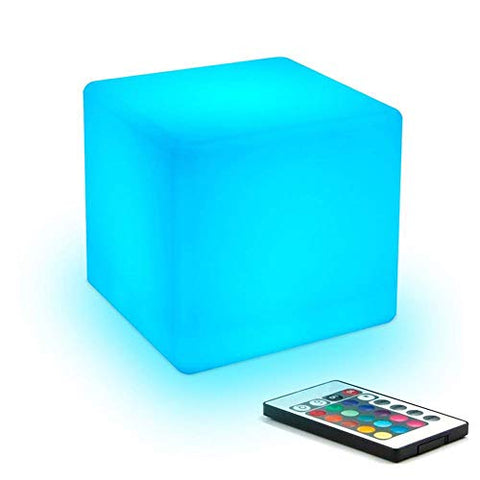 Paddia Romatic Light Up LED Mood Night Light Remote Control Adjustable 16 RGB Colour 4 Brightness Waterproof Indoor Outdoor Led Cube Stool Home Decorative Bedroom Patio Pool Party Decorative Lighting