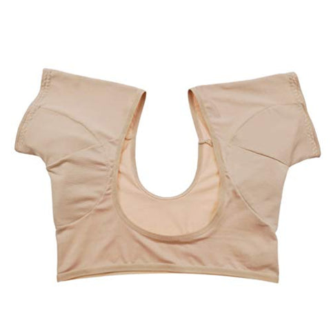 HEALLILY Underarm Armpit Sweat Pads Armpit Guard Shields Absorbing Sweat Deodorant Underwear Vest for Runnig Sprots (Skin Color Size L