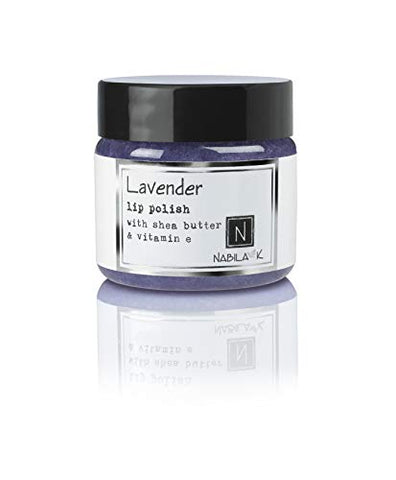 N Nabila K Lavender Lip Polish with Shea Butter and Vitamin E, Exfoliates and Mositurizes, Comes with Spatula, Single