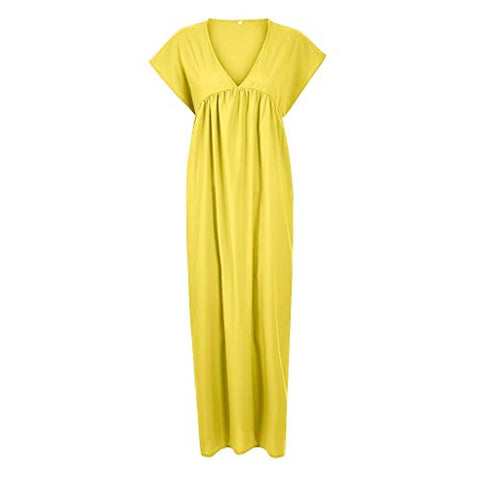 terbklf Maxi Dresses for Women Casual Summer Ladies V Neck Pleated Long Swing Dress A Line Party Dresses for Women Yellow