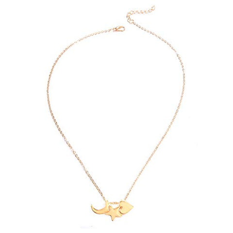 Jovono Gold Crescent Moon Star Heart Pendant Necklaces Fashion Necklace Chain Jewelry for Women and Girls