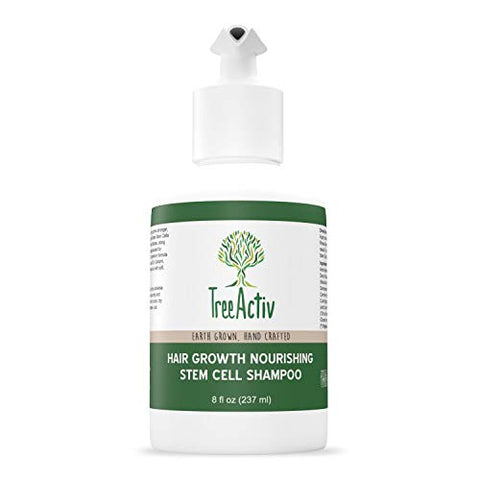 TreeActiv Hair Growth Nourishing Stem Cell Shampoo (8 fl oz), Anti Hair Loss Complex Treatment of Thinning, Damaged Hair for Men & Women, Grow Hair Faster, Rose Stem Cells, Manuka Honey, Organic Aloe