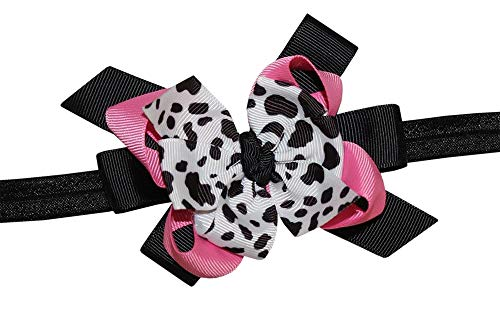 WD2U Girl Deluxe Farm Girl Pink Holstein Moo Cow Print Hair Bow Stretch Headband