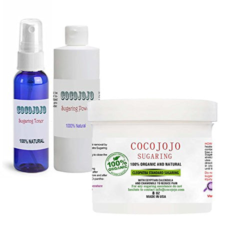 Cocojojo Sugaring Hair Removal 8 Oz Standard Firm Sugaring Paste Set With Calming Spray Toner And Po