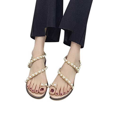 Xinantime Womens Summer Pearl Sandals Girls Roman Shoes Casual Beach Sandals Comfortable Flats (Beige,35)