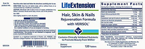 Life Extension Life Extension Hair, Skin & Nails Rejuvenation Formula with Verisol, 120 Tablets