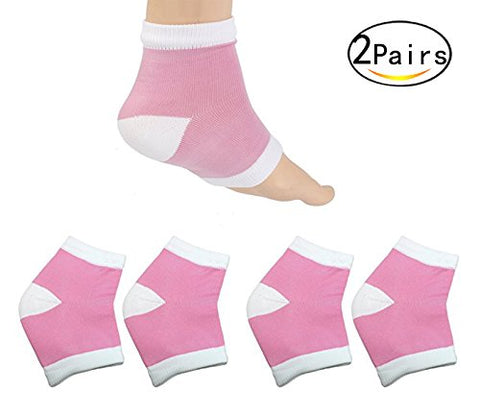 Healthcom 2 Pairs Spa Moisturising Silicone Gel Heel Socks for Dry Hard Cracked Skin Moisturizing Open Toe Comfy Recovery Socks,Pink