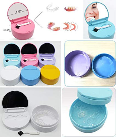 Denture Case Portable False Teeth Storage Box Orthodontics case Denture Container Holder #16