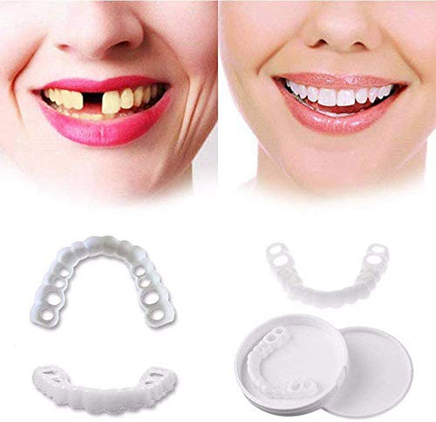 ZXH Veneers Snap in Teeth,Top and Bottom Denture Fake Teeth Temporary Cosmetic Simulated Whitening Teeth Snap on Instant Comfortable Flexible Perfect Veneers-for Perfect Smile,1 Pairs