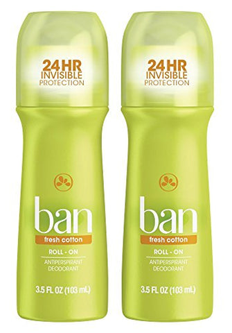 Ban Roll-On Antiperspirant Deodorant, Fresh Cotton, 3.5oz (Pack of 2)